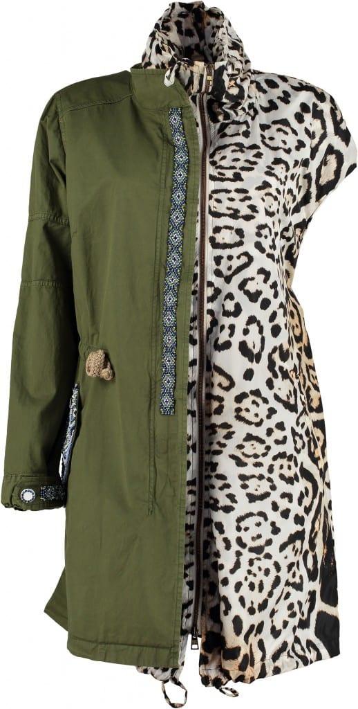 Green Parka Leopard Lining Half