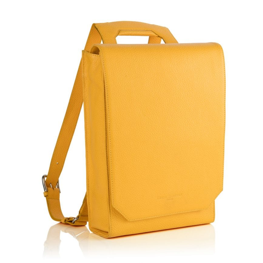 Lilly Leather Laptop Backpack Yellow - £395