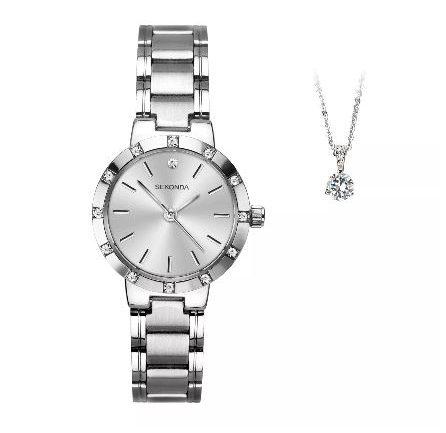 Sekonda Silver Tone Crystal Ladies Watch and Pendant Gift Set